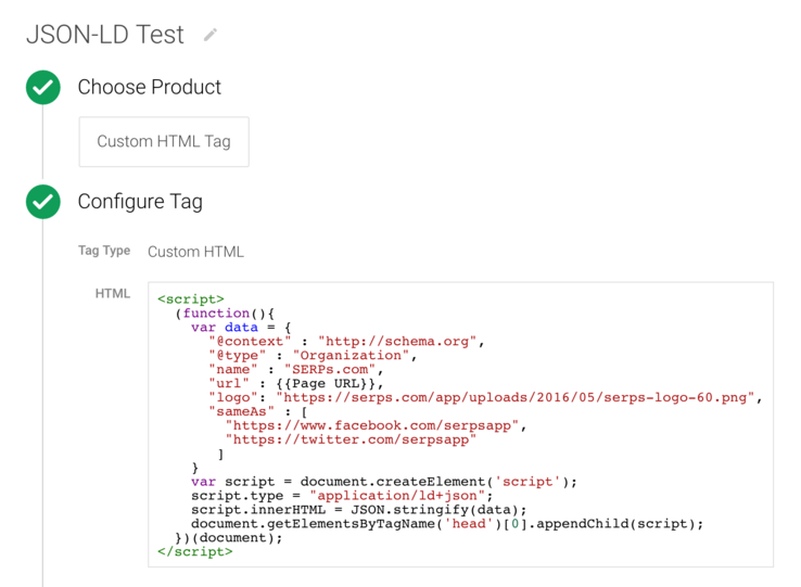 Google Tag Manager JSON-LD insertion script