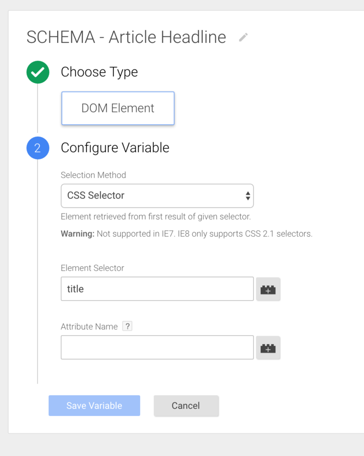 configuring a google tag manager tag to extract the title value