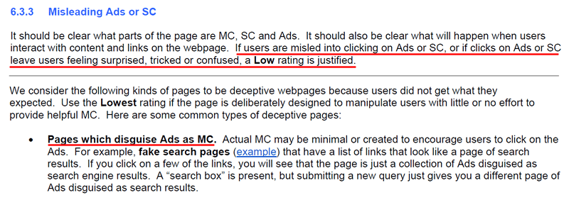 Quality Rating Guidelines and Deceptive Ads