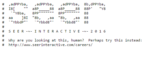 Seer robots.txt with ASCII art and job posting