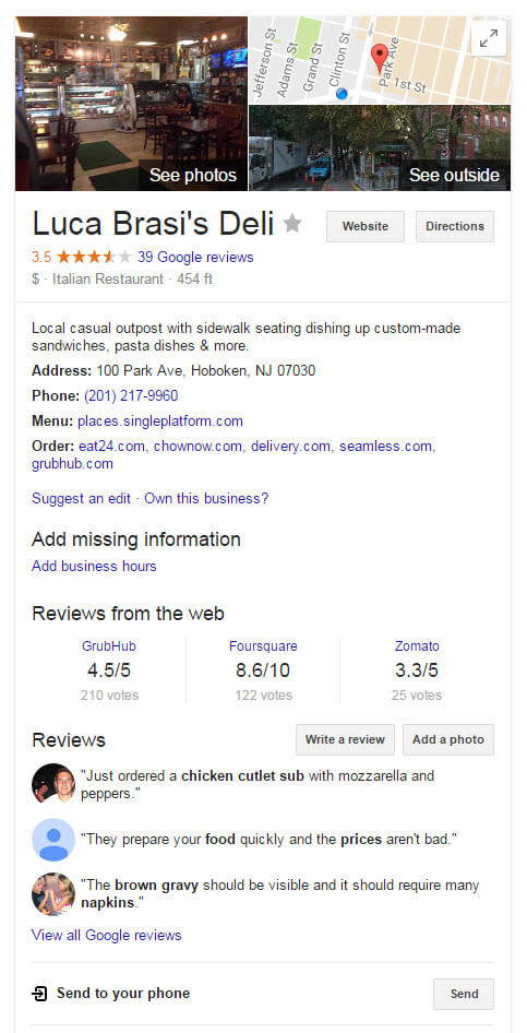 Local Knowledge Graph Panel Result