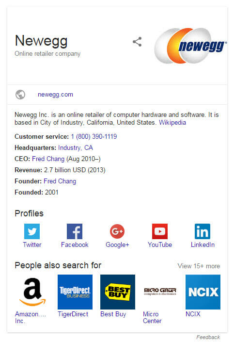 NewEgg Branded Knowledge Graph