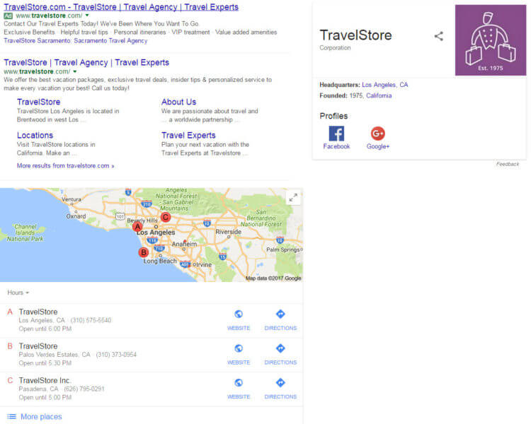 TravelStore Knowledge Graph Panel and Local Pack